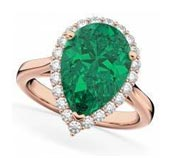 Pear Cut Halo <b>Emerald</b> & Diamond Engagement Ring 14k Rose Gold (6.54ct) $13,326
