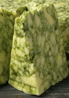 A marbled, English Cheddar-like cheese, aged from one to three months: Sage Derby