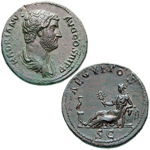"""As"" coin of Hadrian, representing vncia (unity), source of the words ounce and inch. On the reverse, Aegyptos, the female personification of Egypt, holds a sistrum. ☆ Classical Numistmatic Group, Inc."