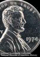Notorious 1974 trial aluminum US penny, illegal to hold though some are still at large