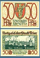 German Notgeld (emergency money) issued during its post-World War I hyperinflation